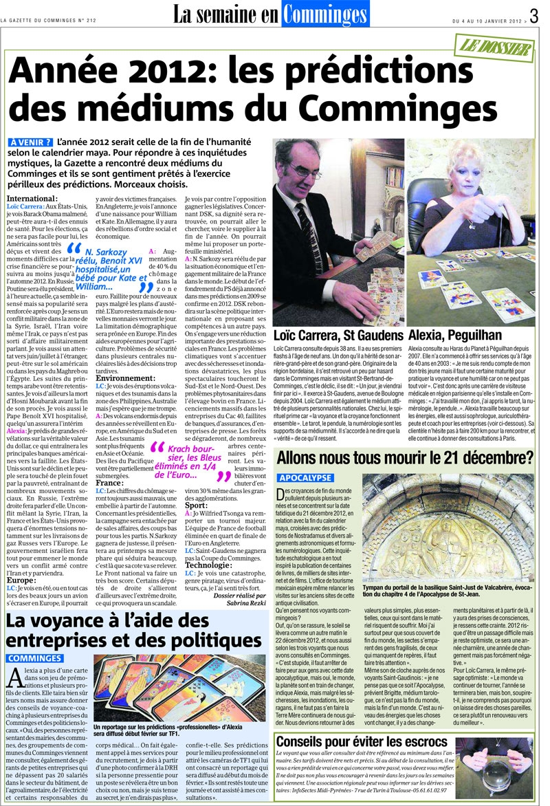 Interview presse d'Alexia Conseil dans la gazette du Comminges.